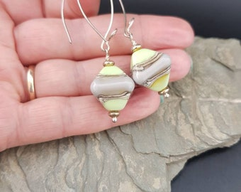 Sterling Silver, Glass lampwork Earrings -  lime and grey -Quirky, Boho, Funky