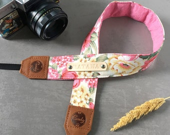 DSLR camera strap,Yellow Pink flower Camera Strap, leather camera Strap Gift for her