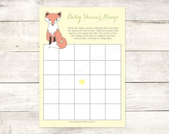 baby shower bingo game card printable fox DIY yellow woodland animal fox bingo card cute baby shower digital games - INSTANT DOWNLOAD