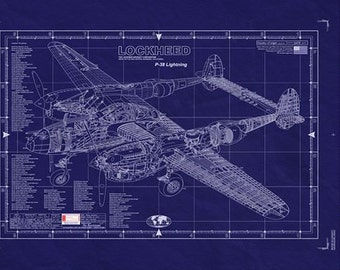 LOCKHEED P-38 LIGHTNING Blueprint - Large Engineering Drawing/ WW2 Aaicraft
