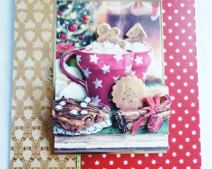 Hot Drink and Ginger Cookies, 3 D Decoupage, Christmas Card, Greeting Card, Red and Gold, Any Age, Male or Female