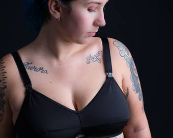 Nursing Bra - Onyx - Not Strappy - Lucky Muthah Collection Maternity Bra Breastfeeding Mama Custom