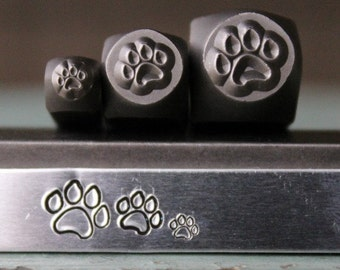 Brand New Dog Paw 3 Stamp (3mm, 5mm and 7mm) Metal Design Stamp Set - Metal Stamp - Metal Stamping and Jewelry Tool - SGCH-125/119/120