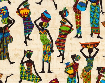 African Tribal Women Kenta Cream Timeless Treasures Fabric
