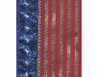 """2.5"""" Wired Metallic American Flag Ribbon - 10 Yards Fourth of July"""