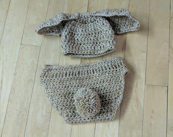 Newborn bunny costume, very high quality yarn