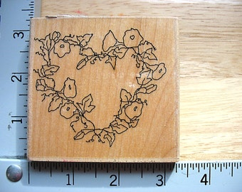 Printworks Annette Watkins Morning Glory Heart Wreath DESTASH Rubber Stamps, Used Rubberstamp, floral vine heart wreath