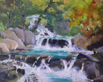 Original oil painting landscape oil fine art painting stream waterfall art landscape painting original shady forest framed painting studio