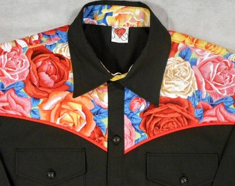 Western Shirt, floral, flowers, bright, rockabilly, short or long sleeve, small to 3xl