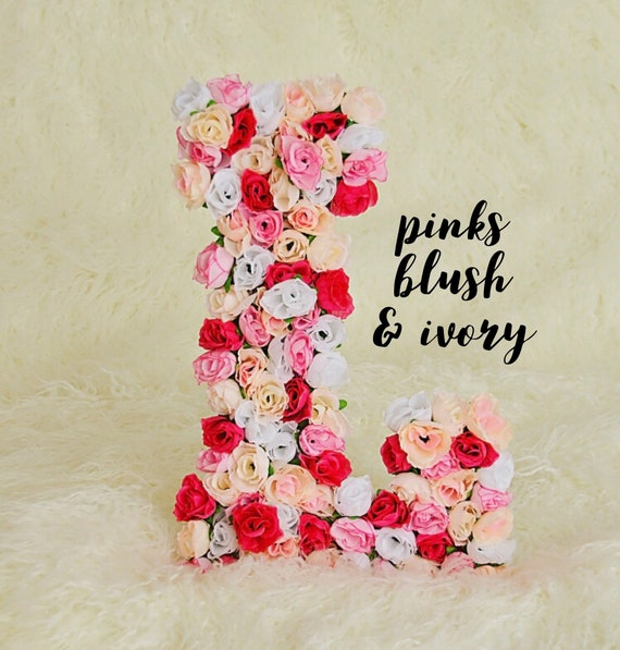 Custom Floral Letter in Pinks Blush & Ivory | Nursery Floral Initial | Floral Letters
