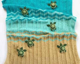Knit sea turtle blanket- Crochet sea turtle blanket, Sea turtle blanket, Turtle blanket, Ocean blanket, Ocean nursery, Turtle Lovey, Lovey