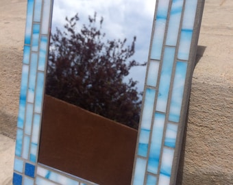 Stained Glass Mosaic Mirror, Blue Sky Mirror, Mosaic Mirror, Bathroom Mirror, beach decor, Blue Stained Glass Mirror, Blue Mirror