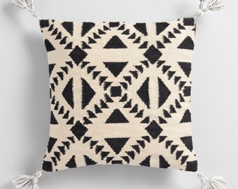 Black and Ivory Geo Woven Indoor Outdoor Throw Pillow