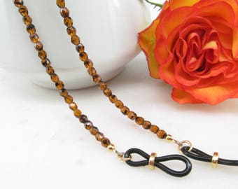 Tortoise Shell Chain for Glasses; eyeglass chain; reading glasses necklace holder; glasses leash; reading glasses holder; spectacles holder