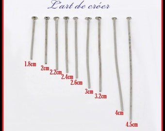 Set of 900 nail Rod Silver flat head, 9 sizes from 18mm to 45mm
