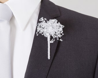 """Boutonniere of """"Ice"""" Beads - Grooms Boutonniere - Silver Boutonniere - Wedding Boutonniere"""