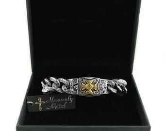 Men's 18mm Florenzada Cross Bracelet Stainless Steel Gold Plated Cross Stainless Steel Motorcycle Christian Jewelry