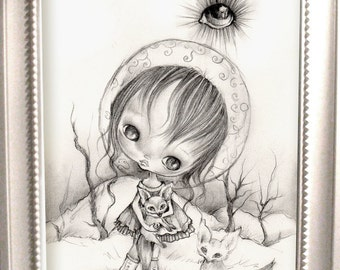 Original pencil drawing on heavy cotton paper,Framed..''Joan of Ark''