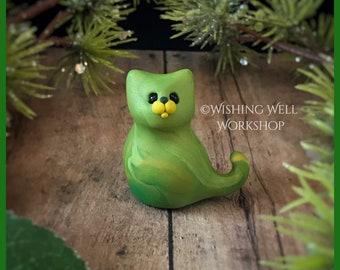 Green Scrappy Cat B, Miniature Cat, Polymer Clay Cat, Cute Kitty, Kitty, Cat Sculpture, Cat Figurine