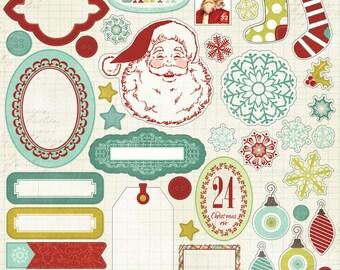 1 Sheet of My Mind's Eye MISTLETOE MAGIC 12x12 Christmas Sticker Sheet