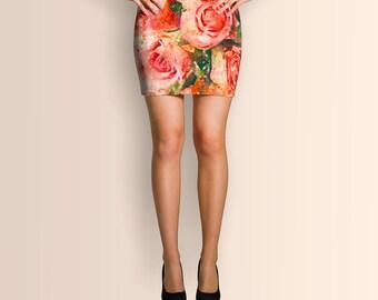 Vintage watercolor roses, Mini Skirt