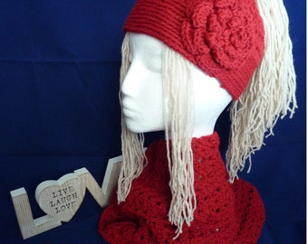 Gorgeous handmade crocheted messy bun hat with flower detail and infinity scarf, red acrylic/wool blend aran weight yarn, machine washable