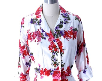 Vintage 1950s Cotton Blouse Floral Print Malbe 18 Rhinestone Studded Lovely Womens Mid-Century