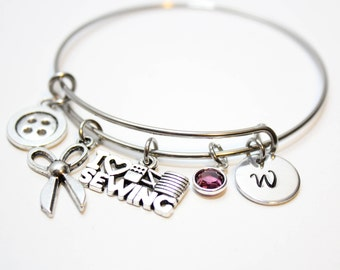 sewing bracelet, sewing bangle, sewing gift, sewing charm bracelet, sewing theme charm bracelet, sewers gift , sewing initial bangle, sewers