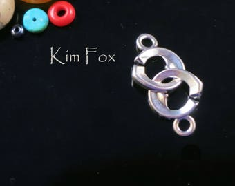 Small Double Heart Sister Hook Clasp in Sterling Silver or Golden Bronze by Kim Fox