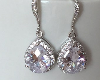 bridesmaids jewelry Silver and rhinestone dangle bridal earrings, brides earrings, wedding earrings, CZ crystal earrings,  crystal earrings