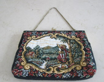 Tapestry Purse with Chain Handle