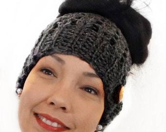 Messy Bun Beanie, Crochet Messy Bun Beanie, Top Knot Beanie, Bun Hat, Crochet Bun Hat, Ponytail Beanie, Ponytail Hat, Messy Bun hat, GRAY