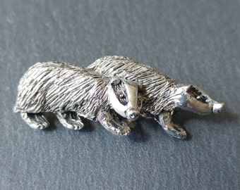 Badger Brooch / animal jewellery / Woodland animal / Pewter pin badge / Handmade and Designed by SJH Designs