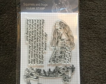 Girl and life sentiment clear stamp