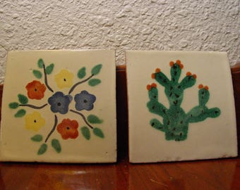 Terra-Cotta Handmade Mexican Tiles Square Vintage Handmade Trivet Glazed Tiles Unique One of a kind Saguaro Cactus Floral