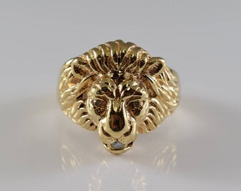 14K Yellow Gold Lion's Head Diamond Ring Size 9