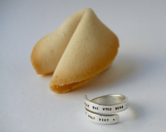 Man silver custom ring, adjustable, custom lucky fortune cookie gift wrapped.