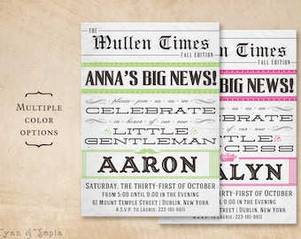 Printable Baby Shower Invitation - 5x7 - Vintage Newspaper - Black White Grey Lime Green Magenta Pink - Boy Girl Antique Gentleman Princess