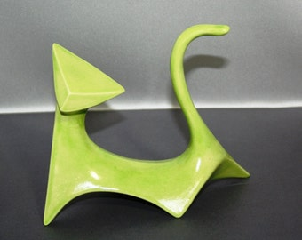 READY TO SHIP: Modern Cat in Neon Green Glaze (Right cat) from 1960's vintage mold that my grandmother gave me