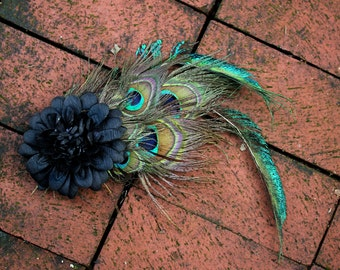 Black Dahlia Fascinator - Hair Comb - Peacock Feather Pad and Sword Feathers