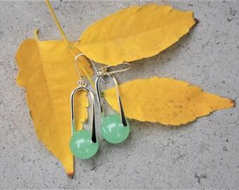 Light green Jade Earrings Jade Silver drop earrings Semi-precious Gemstone earrings Gemstone jewelry CUSTOM EARRINGS