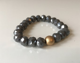 Dark Grey Faceted Bracelet