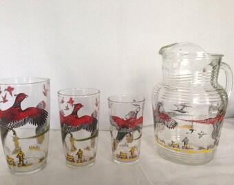 Pheasant Pitcher and Glasses Hazel Atlas