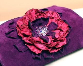 Purple Suede Clutch with Pink flower art.131