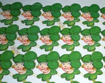 Vintage German paper cutouts scrap Cake Decorations Lucky clover girl