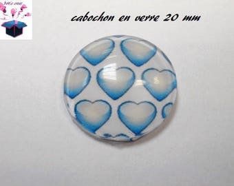 1 cabochon clear 20mm heart theme