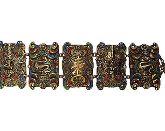 Dragon Gold Filigree Enamel Bracelet