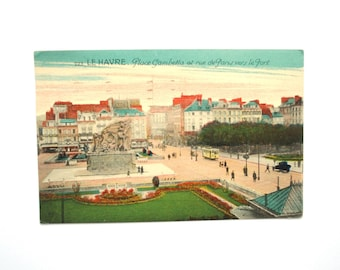 1937 - Postcard - France - Le Havre-Place Gambetta and Paris Street to the ancient written port tram cars
