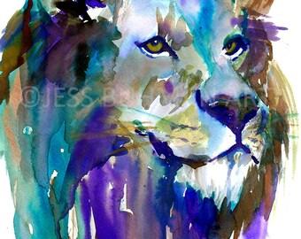 Print of Lion Watercolor, Lion Art, Animal Art, Illustration by Jess Buhman, Lion Illustration, Lion Painting, Cat Art, Lion Poster