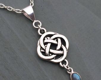 Labradorite Celtic Knot 4 Elements Hidden Pentagram Pendant